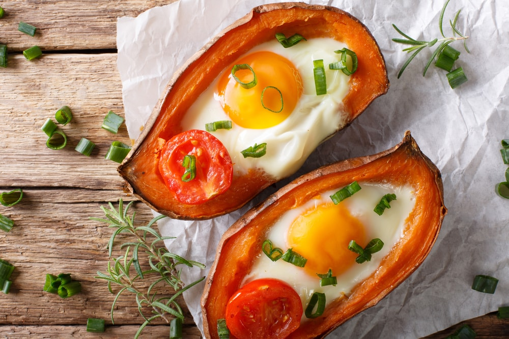 Baked Eggs in Sweet Potato Boats