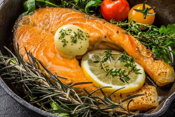 Roasted Salmon with Lemon and Rosemary