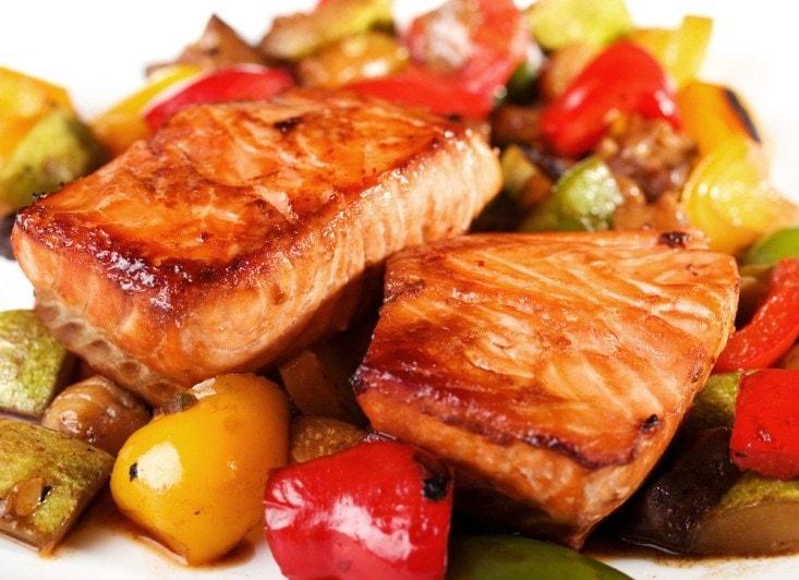 Teriyaki Glazed Salmon and Vegetable Roast